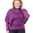 Unsightly woman speaks by mobile — Stock Photo