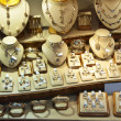 Counter with variety jewelry - 图库照片