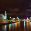 Moscow Kremlin  and   Moskva River in night — Stock Photo