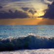 Stock Photo: Sea wave in sunset time