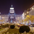 Foto de Stock  : Wenceslas Square at night. Prague, Czechia