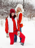 Two girls in winter — Stock Photo