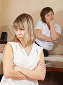 Girls having conflict at home — Stock Photo