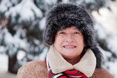 Mature woman in winter — Stockfoto