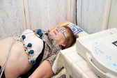Paciente durante o procedimento de ecg — Foto Stock