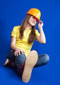 Pretty worker in hard hat — Stock Photo