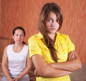 Mother and teenager daughter after quarrel — Stock Photo