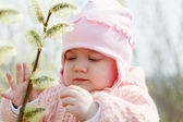 Seven months baby girl in spring — Stock Photo