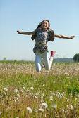 Jumping teenager girl — Stock Photo