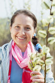 Portrait of mature woman in spring — Stock Photo