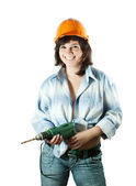 Happy girl with drill — Stock Photo