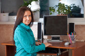 Woman with computer — Stockfoto