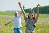 Happy teenager boy and girl together — Stock Photo