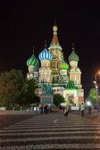 Cathédrale de l'intercession dans la nuit. moscou, russie — Photo