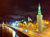 Moscow Kremlin and Moskva River in night. Russia — Stock Photo
