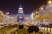 Wenceslas Square at night. Prague, Czechia — Stok fotoğraf