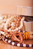 Wooden beads background — Stock Photo