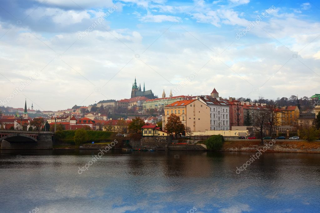 View of Prague from Vltava side, Czechia — Stock Photo #9008984