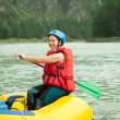 Girl on raft — Stock Photo #9890529