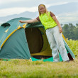 Camping happy woman — Stock Photo