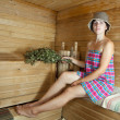 Woman  in sauna - Foto Stock