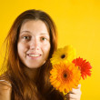 Portrait of girl with flowers — Stock Photo #9891052