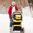 Mother with carriage in winter park — Stock Photo #9891057