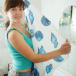 Woman with shower curtain - Foto Stock