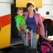 Mother and child traveling on bus — Stock Photo