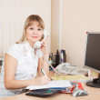 Businesswoman speaking by telephon — Stock Photo #9891750