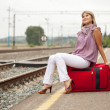 Woman  waiting on train — Stock Photo
