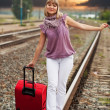 Woman  walking on rail — Stock Photo