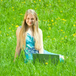 Girl with the notebook — Stockfoto