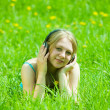 Girl listening music — Stok fotoğraf