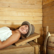 Young girl relaxing  in sauna — Stock Photo #9892637