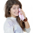 Girl smiling and crying with shawl — Stock Photo #9892641