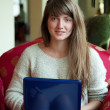 Girl sitting  with laptop - Foto de Stock