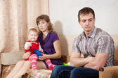 Family of three having quarrel — Stock Photo