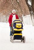Madre con el carro en el parque de invierno — Foto de Stock