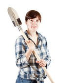 Female farmer with spade — Stock Photo