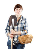 Farmer with spade and basket — Stock Photo