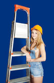 Sexy female builder — Stock Photo