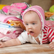 Baby with children's wear — Stock Photo