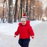 Happy toddler in winter — Stock Photo