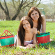 Girlfriends on grass park — Stock Photo
