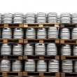 Beer kegs  over white — Stock Photo