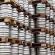 Beer kegs in rows — Stock Photo