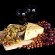 Grapes and cheese — Stock Photo