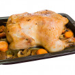 Baked chicken in roasting pan — Stock Photo