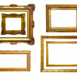 Set of gilded frames. Isolated over white background — Stock Photo